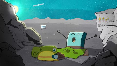 Philae wakes up! Mission managers posted this cartoon of the lander yawning after it came out of hibernation on June 13, 2015. They also sent a series of tweets between the lander and its mothership, Rosetta.