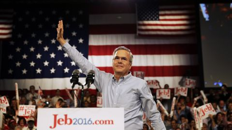 Former Florida Gov. Jeb Bush waves as he takes the stage as he formally announces he is joining the race for president with a speech June 15, 2015, at Miami Dade College in Miami.