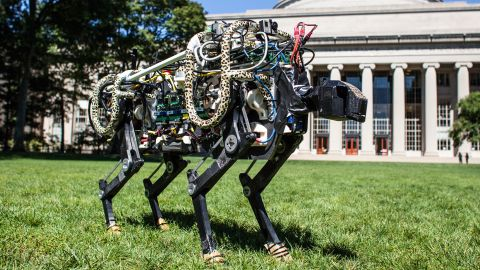 MIT's cheetah-bot in Killian Court. A new algorithm allows the robot to run and jump.