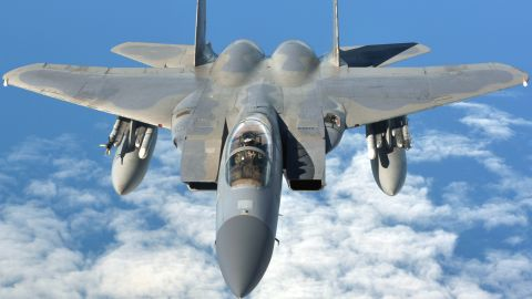 F-15C Eagle jets can provide air-to-air and air-to-ground combat capabilities.