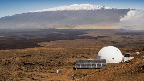 This photo, provided by the University of Hawaii at Manoa HI-SEAS Human Factors Performance Study, shows the scientists' dome home, on the bleak slopes of dormant volcano Mauna Loa near Hilo on the Big Island of Hawaii, on March 10, 2015.