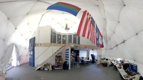 This April 9, 2015, photo provided by the University of Hawaii at Manoa HI-SEAS Human Factors Performance Study shows the interior of the dome in which the scientists lived for eight months.