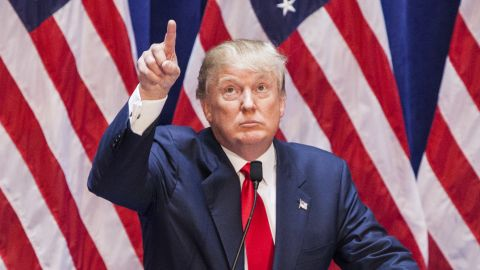 Business mogul Donald Trump gives a speech as he announces his candidacy for the U.S. presidency at Trump Tower on June 16, 2015 in New York City.