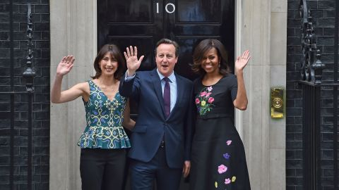 Obama meets Prime Minister David Cameron and his wife, Samantha Cameron, at 10 Downing Street in London on June 16.