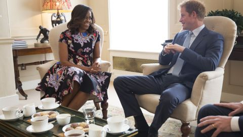 Michelle Obama meets Prince Harry at Kensington Palace in London on Tuesday, June 16.