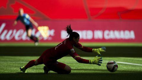 U.S. goalie Hope Solo makes a save against Nigeria.