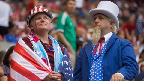 U.S. fans wait for the Nigeria match to start.
