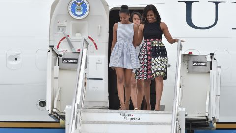Michelle Obama and her daughters arrive in Milan, Italy, on Wednesday, June 17.