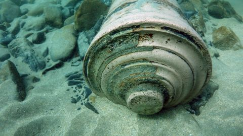 Two cannons in excellent condition are among the artifacts brought up from the sandy seabed where the ship, La Juliana, went down in 1588.