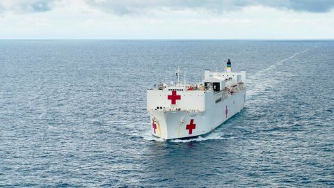 With more than 700 medical personnel, 5,000 units of blood and 12 operating rooms, the USNS Comfort is the world's biggest hospital ship.
