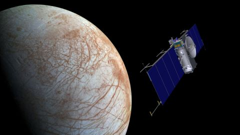 An artist's concept of what a NASA spacecraft would look like approaching Europa.