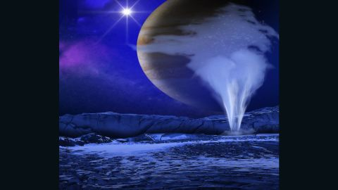 An artist's concept of a plume of water jetting above the icy surface of Europa, one of Jupiter's moons.