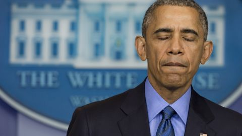 President Barack Obama speaks about the shooting deaths of nine people at a historic black church in Charleston, South Carolina, from the White House on June 18, 2015.