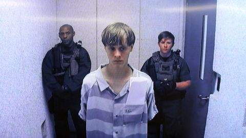 In this image from the video uplink from the detention center to the courtroom, Dylann Roof appears at a bond hearing June 19, 2015, in South Carolina. Roof is charged with nine counts of murder and firearms charges in the shooting deaths at Emanuel African Methodist Episcopal Church in Charleston, South Carolina on June 17.