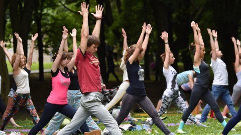 A mass yoga session is held in Minsk, Belarus.