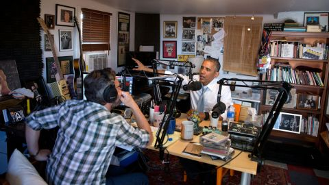 """President Obama speaks with comedian Marc Maron, host of the podcast """"WTF with Marc Maron."""""""