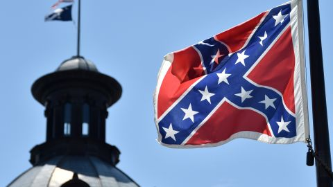 """The Confederate Battle flag known as the """"Southern Cross"""" has 13 stars to represent the defeated Confederate States of America."""