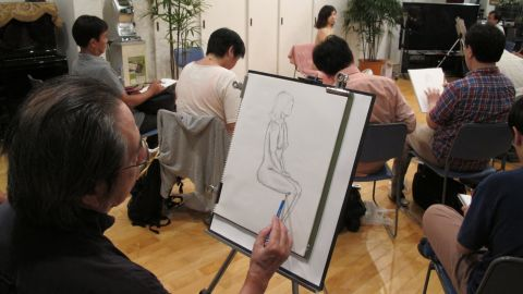 A nude sketching class in Tokyo aims to help Japan's middle-aged virgins by allowing them to spend time with a real female body.