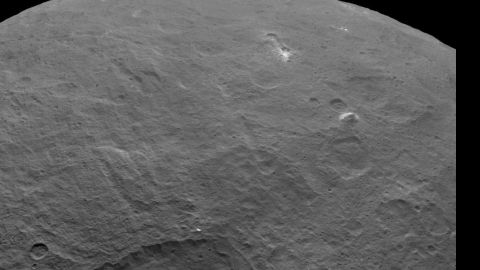 Among the fascinating features on dwarf planet Ceres is an intriguing pyramid-shaped mountain protruding from a relatively smooth area. Scientists estimate that this structure rises about 3 miles (5 kilometers) above the surface. NASA's Dawn spacecraft took this image from an altitude of 2,700 miles (4,400 kilometers).