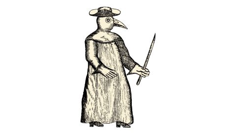 The plague doctor is in. The hat, goggles, gown and beak-like mask identified a person as a plague doctor in the Middle Ages. The uniform was used for protection; the beak contained herbs and perfumes intended to cover the stench associated with plague disease.