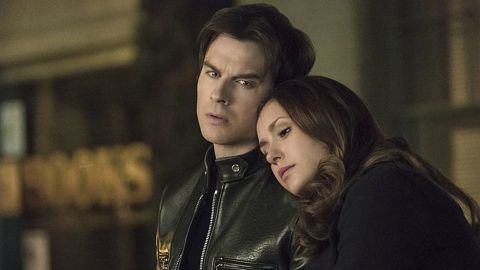 """Innocent Elena (Nina Dobrev) only had eyes for the nocturnally oriented Stefan on """"The Vampire Diaries"""" at first, but sparks flew between her and bad boy Damon (Ian Somerhalder) as well. The two got married in real life, but things didn't work out."""
