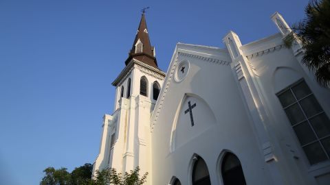 Caption:CHARLESTON, SC - JUNE 22: The Emanuel African Methodist Episcopal Church is seen after a mass shooting five days ago that killed nine people, on June 22, 2015. 21-year-old Dylann Roof is suspected of killing nine people during a prayer meeting in the church in Charleston, which is one of the nation's oldest black churches. (Photo by Joe Raedle/Getty Images)