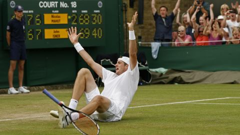 This was the moment of victory for Isner, who prevailed 70-68 in the fifth set in a match that lasted 11 hours, five minutes and stretched to three days.