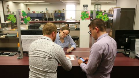 Eric Braman, left, and Kris Katkus were the first to register for a marriage license in Kalamazoo, Michigan, after the Supreme Court ruling.