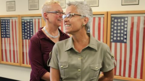 Kathy Petterson, left, and Beverly Reicks leave the Douglas County Clerk's office on June 26 after becoming the first same-sex couple to wed in Omaha, Nebraska.