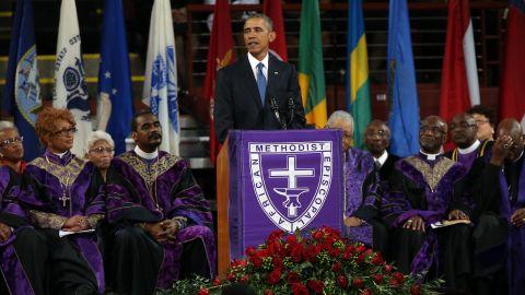 President Barack Obama delivers the eulogy for South Carolina state senator and Rev. Clementa Pinckney during Pinckney's funeral service June 26.