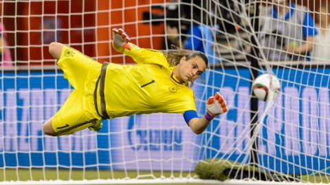 Germany's Nadine Angerer allows a goal on a penalty kick.