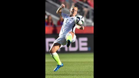 U.S. forward Amy Rodriguez kicks the ball during the China match.