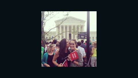 """""""A pic for the future kids. So they can see that their moms were at the Supreme Court the day love became law,"""" said Rachel Evans via Instagram."""