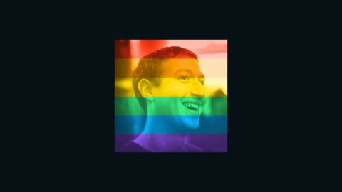 Facebook co-founder Mark Zuckerberg shows his support for gay pride.