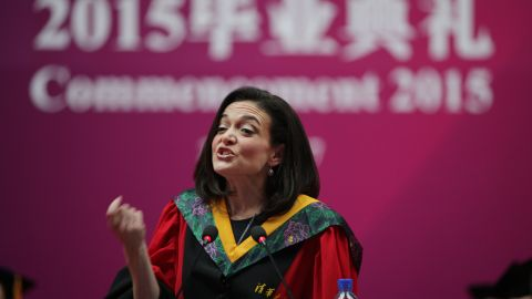 Sheryl Sandberg, Chief Operating Officer of Facebook, delivers a commencement speech at Tsinghua University.