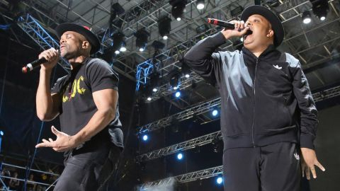 """Run-D.M.C.'s Darryl McDaniels, left, aka D.M.C., and Joseph Simmons, aka Run, <a href=""""http://www.theguardian.com/culture/2015/jun/15/bonnaroo-festival-independent-livenation-tennessee"""" target=""""_blank"""" target=""""_blank"""">rocked Tennessee's Bonnaroo Music and Arts Festival </a>this year, reprising hits such """"It's Tricky,"""" and """"Walk This Way."""" Here they perform in Miami Gardens, Florida, in 2015."""