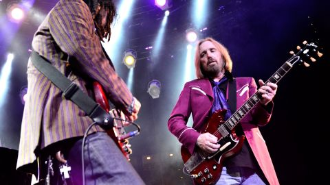 """This band chose """"American Girl"""" as the first song to be played at Live Aid's U.S. venue, JFK Stadium in Philadelphia. Tom Petty, right, here playing with longtime band mate Mike Campbell in 2014, launched a 40th anniversary tour in 2017."""