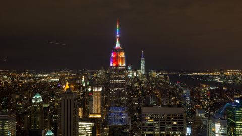 """The Empire State Building was among the many iconic buildings that were lit in rainbow colors in celebration. """"I've been a little bit flabbergasted,"""" Baker says."""