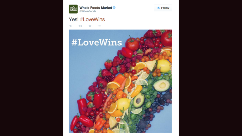 Many companies, including Whole Foods, AT&T and Coke, celebrated the Supreme Court decision by turning logos into rainbows.