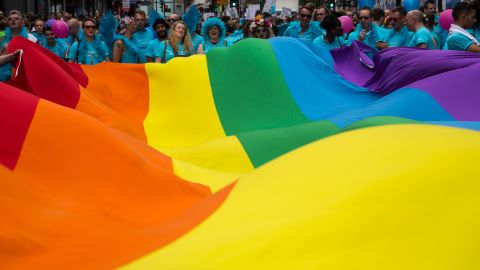 """Baker says the rainbow flag has stood the test of time. """"We're an ancient, wonderful tribe of people,"""" he says. """"We picked something beautiful."""""""