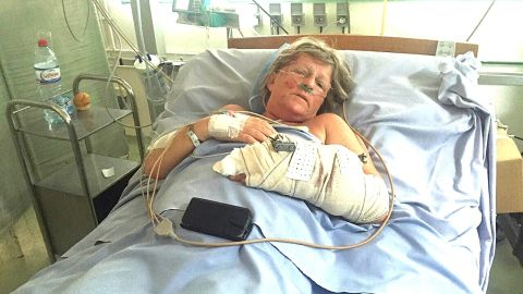 """Cheryl Mellor (pictured) and her husband Stephen sheltered together and told each other """"I love you"""" before the gunman turned on them. Cheryl survived with gunshots to her arm and leg. Stephen, who tried to block the bullets, did not."""