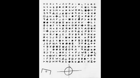 """San Francisco's """"Zodiac Killer"""" was blamed for at least five murders but took credit for as many as 37 in boastful letters sent to the police, some containing swatches of bloody clothing as proof. This is a copy of a cryptogram sent to the San Francisco Chronicle by someone claiming to be the killer. <br />"""