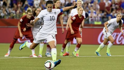 Carli Lloyd scores the Americans' opening goal from a penalty.