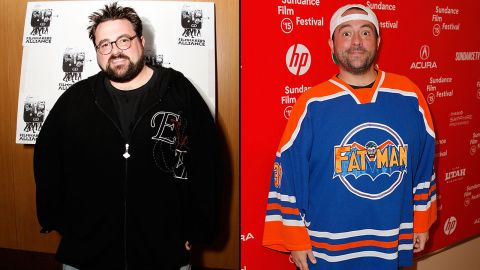 """Filmmaker Kevin Smith in 2008, left, and in 2015. The director of """"Clerks"""" and other movies tweeted in June 2015 that he lost 85 pounds. His secret? Walking 5 miles daily and giving up sugary drinks. In August 2018 he shared on social media that a plant based diet helped him shed 51 more pounds after he suffered a heart attack earlier in the year."""