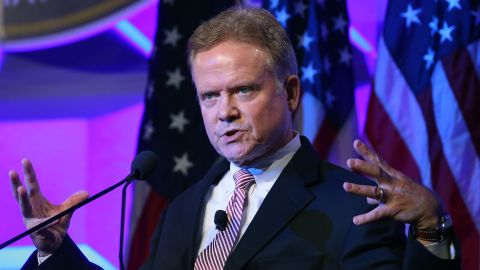 """Former Virginia Democratic Sen. Jim Webb speaks at the National Sheriffs' Association annual conference on June 30, 2015, in Baltimore, Maryland, a few days before he announced his presidential run. """"I understand the odds, particularly in today's political climate where fair debate is so often drowned out by huge sums of money,"""" Webb wrote on his website. """"I know that more than one candidate in this process intends to raise at least a billion dollars -- some estimates run as high as two billion dollars -- in direct and indirect financial support."""""""