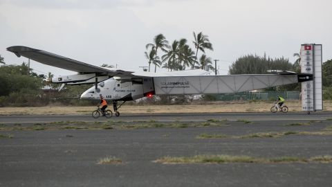 The Solar Impulse 2 is seen at the Kalaeloa Airport in Kapolei, Hawaii, on Friday, July 3. The solar-powered plane, alternately piloted by Andre Borschberg and Bertrand Piccard, is attempting to fly around the world without fuel.