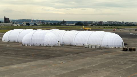 The mobile hangar at the Nagoya airport, as seen on Wednesday, June 3.