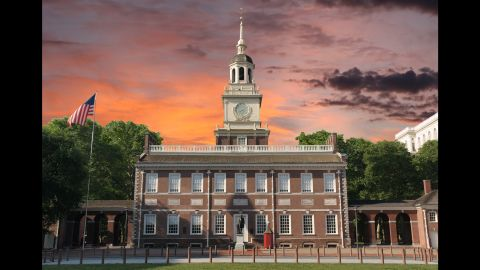 """The Declaration of Independence and the U.S. Constitution were both debated and adopted in Philadelphia's Independence Hall. Nearby is the cracked Liberty Bell, which reads """"Proclaim liberty throughout all the land onto all the inhabitant thereof."""" The bell and its inscription were later used as a rallying cry for the abolitionist and women's suffrage movements."""