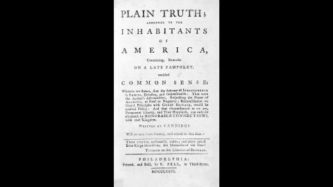 """Thomas Paine published """"Common Sense"""" in 1776. It was written in a plain style meant to convince the """"common people"""" of the colonies to support the independence movement. The pamphlet was wildly popular, with founding father John Adams remarking that, """"Without the pen of the author of Common Sense, the sword of Washington would have been raised in vain."""""""