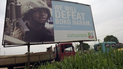 A campaign signboad displayed by the ruling All Progressives Congress in Ogun State, southwest Nigeria.